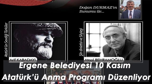 tekirdağ Ergene Belediyesi 10 Kasım Atatürk'ü Anma Programı Düzenliyor