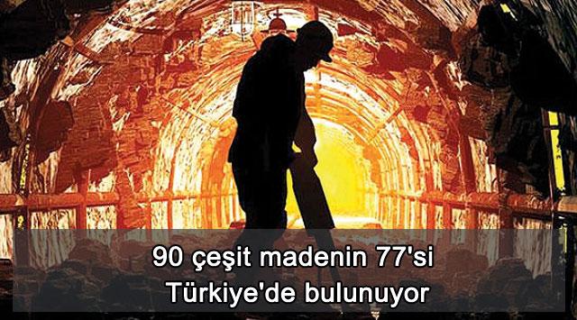 tekirdağ 90 çeşit madenin 77'si Türkiye'de bulunuyor