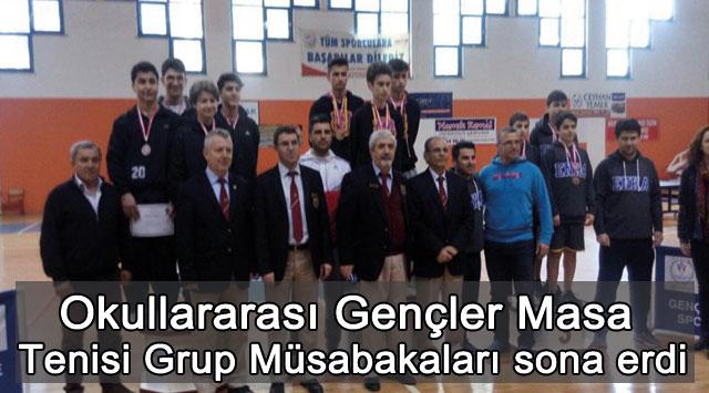 tekirdağ Okullararası Gençler Masa Tenisi Grup Müsabakaları sona erdi