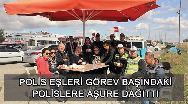 tekirdağ POLİS EŞLERİ GÖREV BAŞINDAKİ POLİSLERE AŞURE DAĞITTI