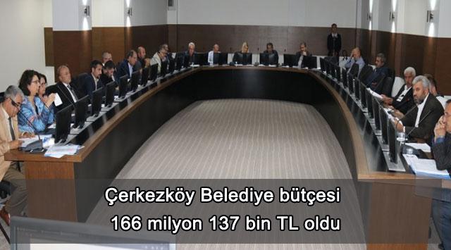 tekirdağ Çerkezköy Belediye bütçesi 166 milyon 137 bin TLoldu
