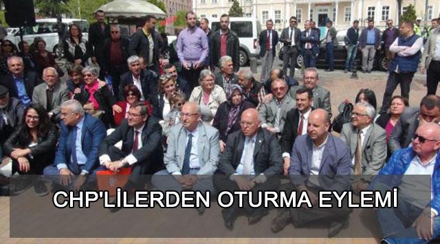 tekirdağ CHP'LİLERDEN OTURMA EYLEMİ
