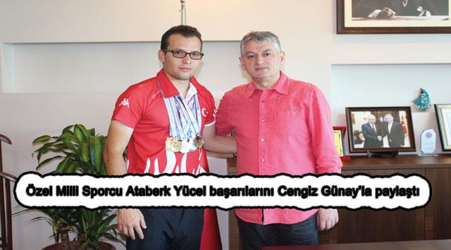 tekirdağ Özel Milli Sporcu Ataberk Yücel başarılarını Cengiz Günay'la paylaştı