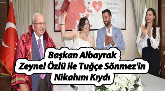 tekirdağ Başkan Albayrak Zeynel Özlü ile Tuğçe Sönmez'in Nikahını Kıydı