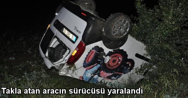 tekirdağ Takla Atan Aracın Sürücüsü Yaralandı