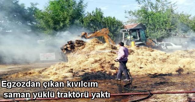 tekirdağ Egzozdan Çıkan Kıvılcım Saman Yüklü Traktörü Yaktı