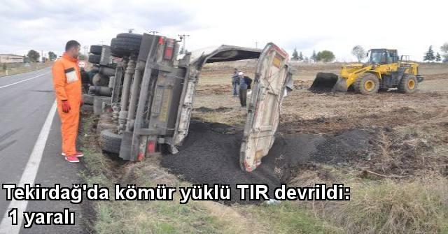 tekirdağ Tekirdağ'da Kömür Yüklü TIR Devrildi: 1 Yaralı